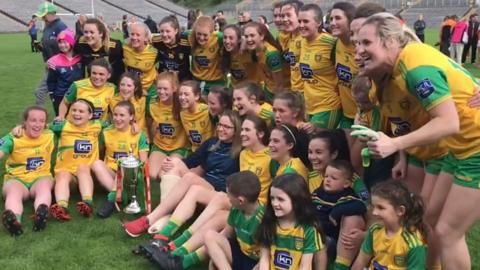 Donegal celebrate their three-in-a-row of Ulster titles