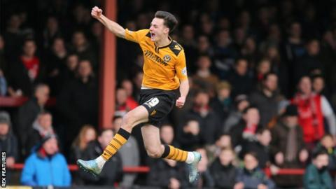 Aaron Collins scored his first competitive goal for Newport on 15 August 2015 in a League Two 2-2 draw against Stevenage