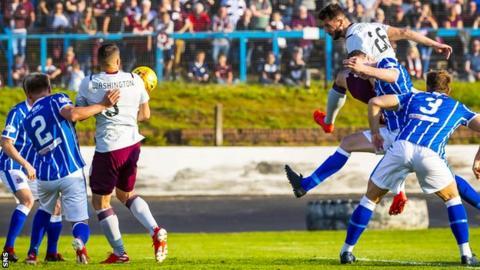 Hearts' Craig Halkett scores