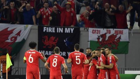Wales celebrate in Georgia
