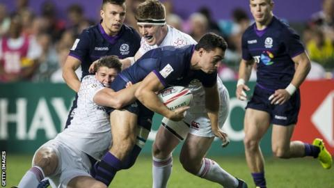 Scotland Sevens player Jamie Farndale is tackled