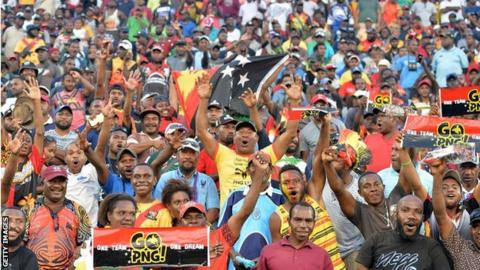 PNG fans watch their World Cup match against Ireland