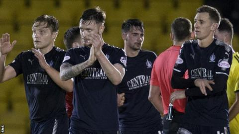 Falkirk players celebrate their 0-0 draw with Livingston