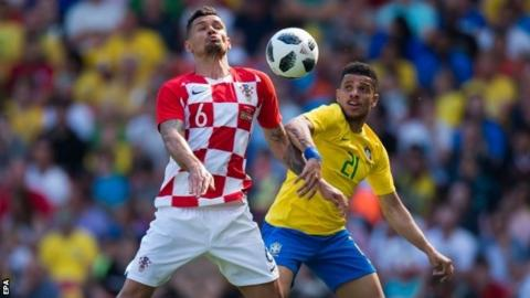 0b94908e442 Dejan Lovren played as Croatia lost Sunday s friendly 2-0 to Brazil at his  club s home ground Anfield. Croatia have named their 23-man World Cup ...