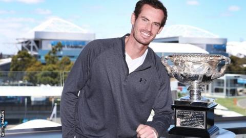 Andy Murray with Australian Open trophy