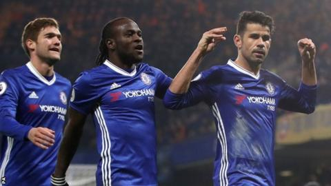 Diego Costa celebrates scoring for Chelsea against Hull City