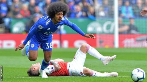 Hamza Choudhury in action for Leicester City against Arsenal
