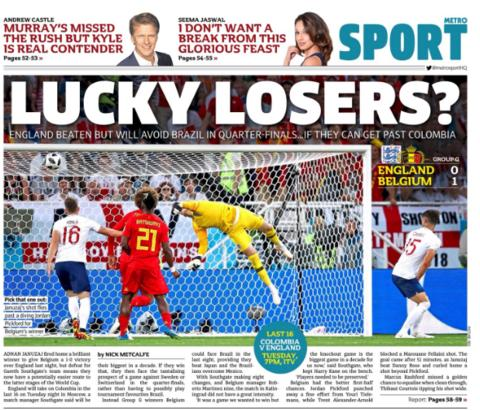 The Metro calls England 'lucky losers' as they now sit in what is perceived as the easier half of the draw