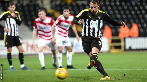 Kristian Dennis scores for Notts County from the penalty spot