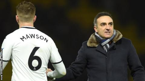 Alfie Mawson (left) with Carlos Carvalhal