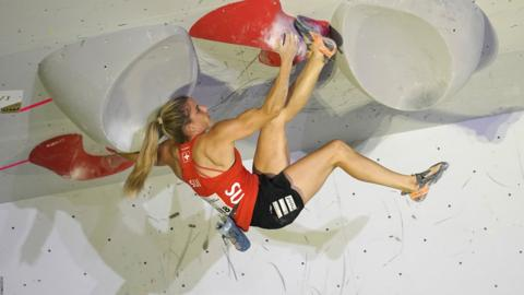 HACHIOJI, JAPAN - AUGUST 18: Petra Klingler of Switzerland competes in the Bouldering during Combined Women's Qualification on day eight of the IFSC Climbing World Championships at the Esforta Arena Hachioji on August 18, 2019 in Hachioji, Tokyo, Japan. (Photo by Toru Hanai/Getty Images)