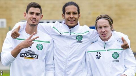 Celtic's Nir Bitton, Virgil van Dijk and Stefan Johansen