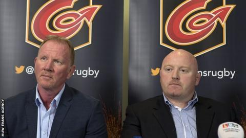 Stuart Davies sits alongside Bernard Jackman at the media conference to announce the Irishman's appointment as Dragons coach