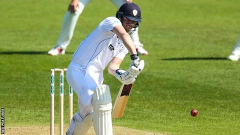 Ben Slater plays a forward defensive stroke for Derbyshire against Middlesex
