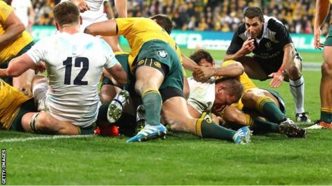 Dylan Hartley drove over from a line-out for England