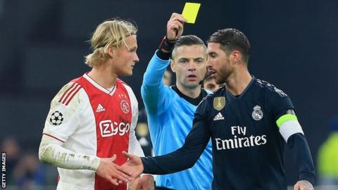 Sergio Ramos handed two match ban for getting deliberate booking against Ajax