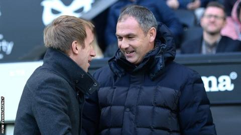 Graham Potter greets predecessor Paul Clement on his return to Liberty Stadium