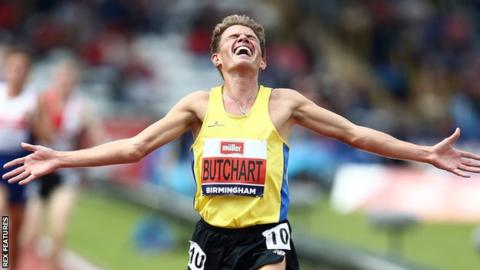 Andrew Butchart celebrates his victory at the Olympic trials