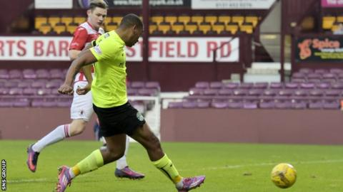 Chris Humphrey scored his first goal for Hibs