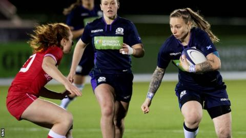 Scotland number eight Jade Konkel (right)