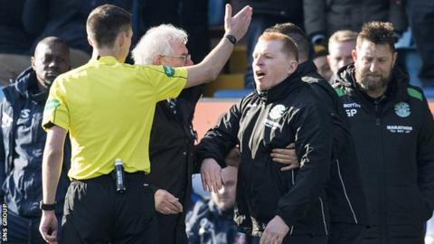 Referee Kevin Clancy sent Neil Lennon off at Rugby Park