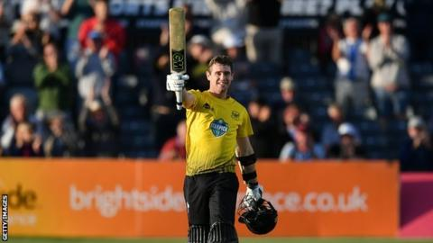 Ian Cockbain after reaching a century in the T20 Blast match against Middlesex last year