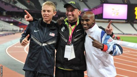 Alberto Salazar alongside Mo Farah and training partner Galen Rupp at the London 2012 Olympics