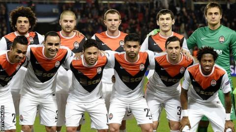 Shakhtar Donetsk line-up during the Champions League
