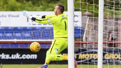 Arbroath's Darren Jamieson fumbles the ball allowing Inverness to take the lead.