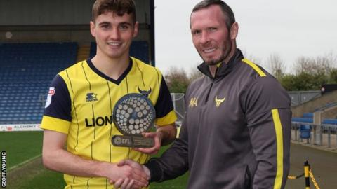 EFL Young Player of the Month for February Ryan Ledson with Oxford United manager Michael Appleton