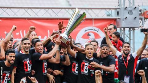 Club Africain celebrate wining the 2018 Tunisian Cup