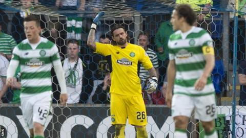 Logan Bailly (centre) berates his defence as Celtic lose to St Johnstone