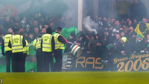 Stewards at Celtic's match against Stranraer