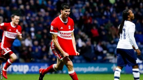 Daniel Ayala celebrates his first goal against Preston at Deepdale