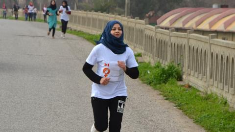 Iraqi woman races on International Women's Day