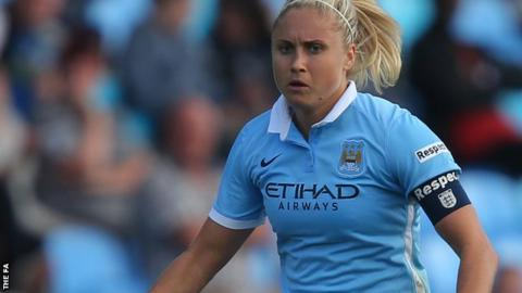 Steph Houghton in action for Manchester City Women