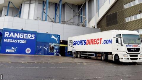 Rangers Megastore and Sports Direct van