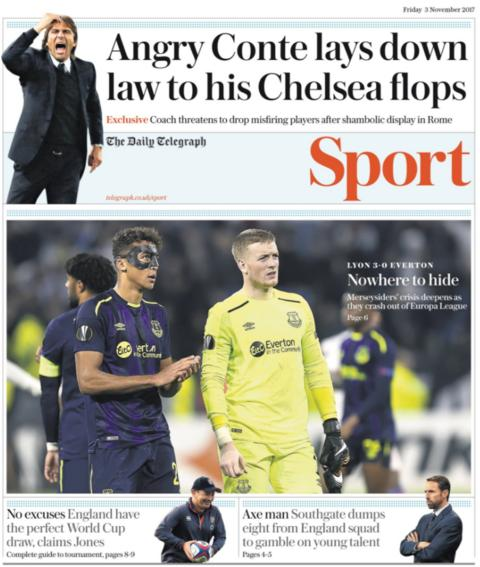 The Telegraph's sport section on Friday