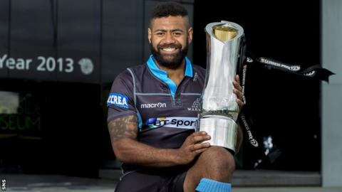Junior Bulumakau poses with the Pro12 trophy