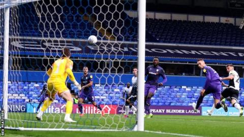 Matty Godden of Coventry sends a header just wide against Tranmere