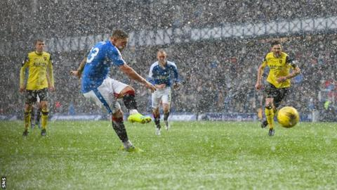Martyn Waghorn scores a penalty for Rangers against Livingston