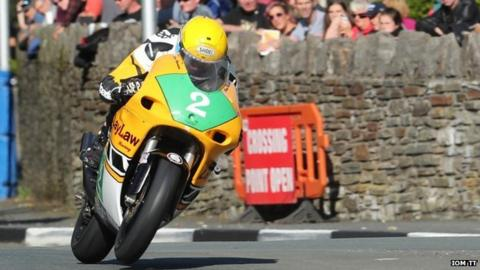 Dean Harrison competing at the Classic TT