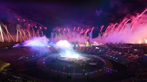 A general view of fireworks during the closing ceremony for the Gold Coast 2018 Commonwealth Games at Carrara Stadium on April 15, 2018 on the Gold Coast, Australia