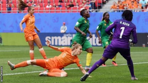 Arsenal's Vivianne Miedema heads the Netherlands in front against Cameroon
