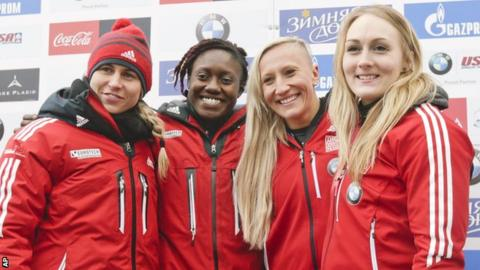 Genevieve Thibault, Cynthia Appiah, driver Kaillie Humphries and Melissa Lotholz