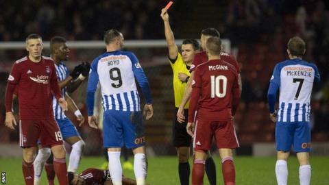 Kris Boyd been shown a red card