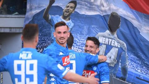 Napoli players celebrate