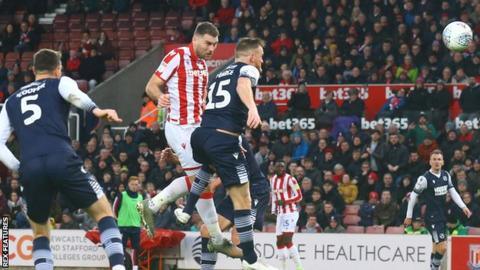 Sam Vokes heads an effort wide for Stoke