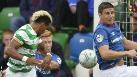 Scott Sinclair's header gave Celtic an early lead at Windsor Park