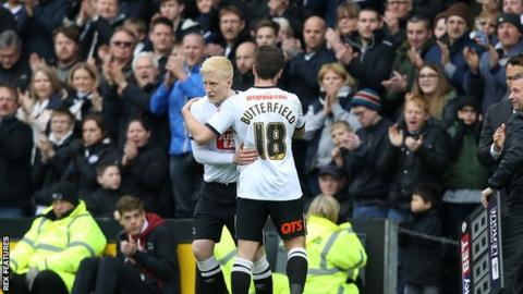 Will Hughes comes on for Jacob Butterfield against Bolton